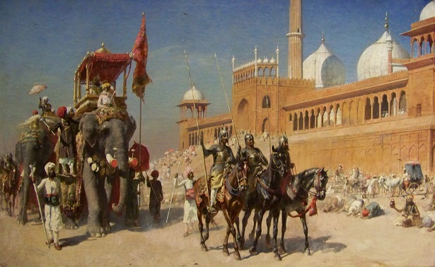 Great_Mogul_And_His_Court_Returning_From_The_Great_Mosque_At_Delhi_India_-_Oil_Painting_by_American_Artist_Edwin_Lord_Weeks.jpg