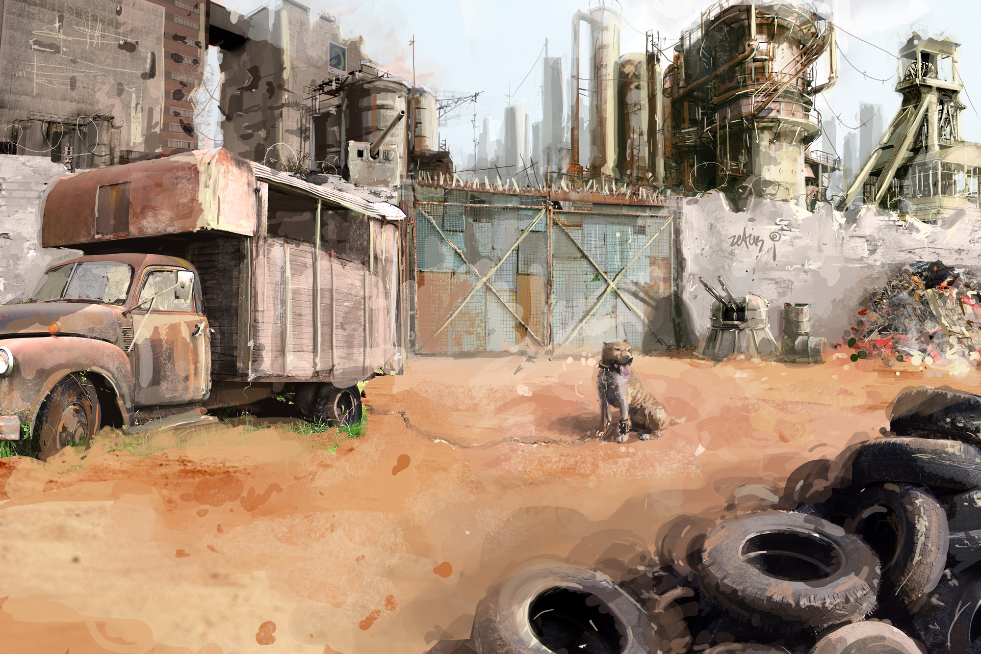 2000x1333 796 desert 2d illustration post apocalyptic dog picture image digital art