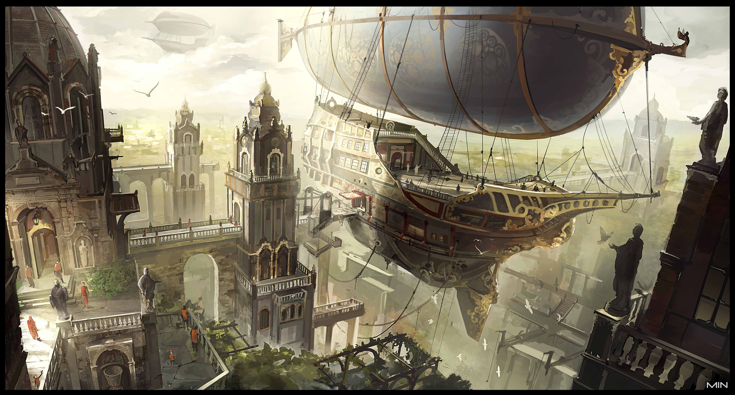 Airship in dock alexandria