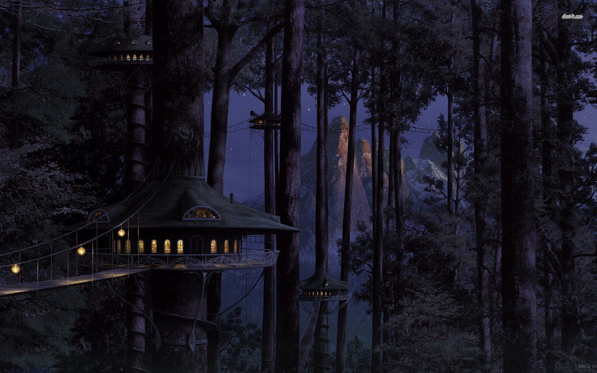 9747-tree-house-house-tree-light-night-bridge-forest.jpg