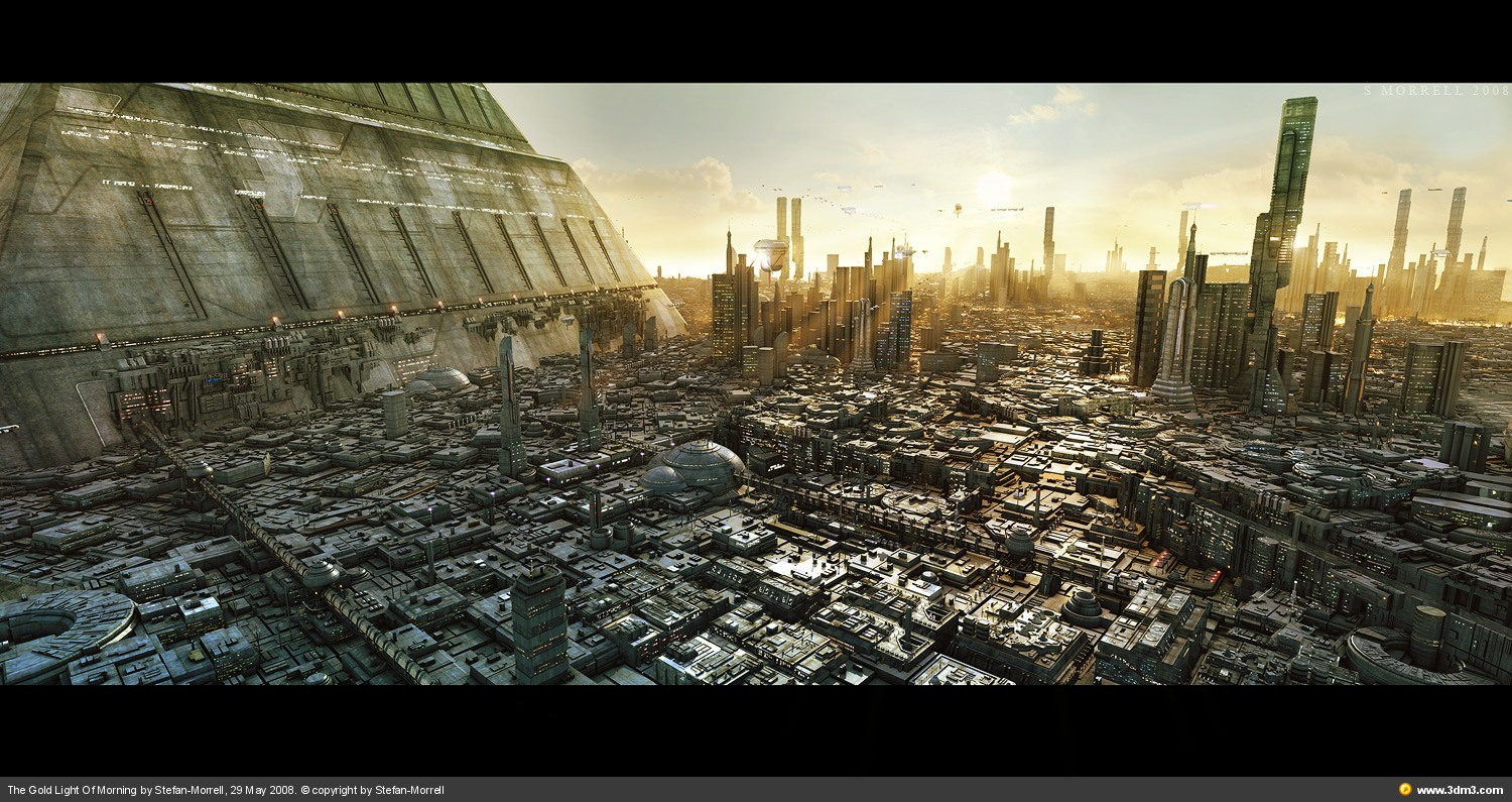 Futuristic scifi cityscape sunset desktop 1500x795 wallpaper 142039