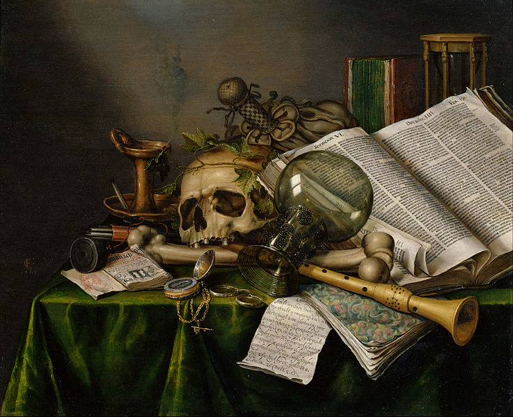 737px edwaert collier   vanitas   still life with books and manuscripts and a skull   google art project