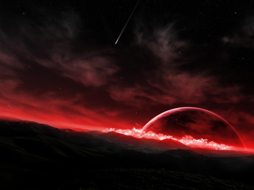 Fantasy rising rose red sun wallpaper 1024x768 62175