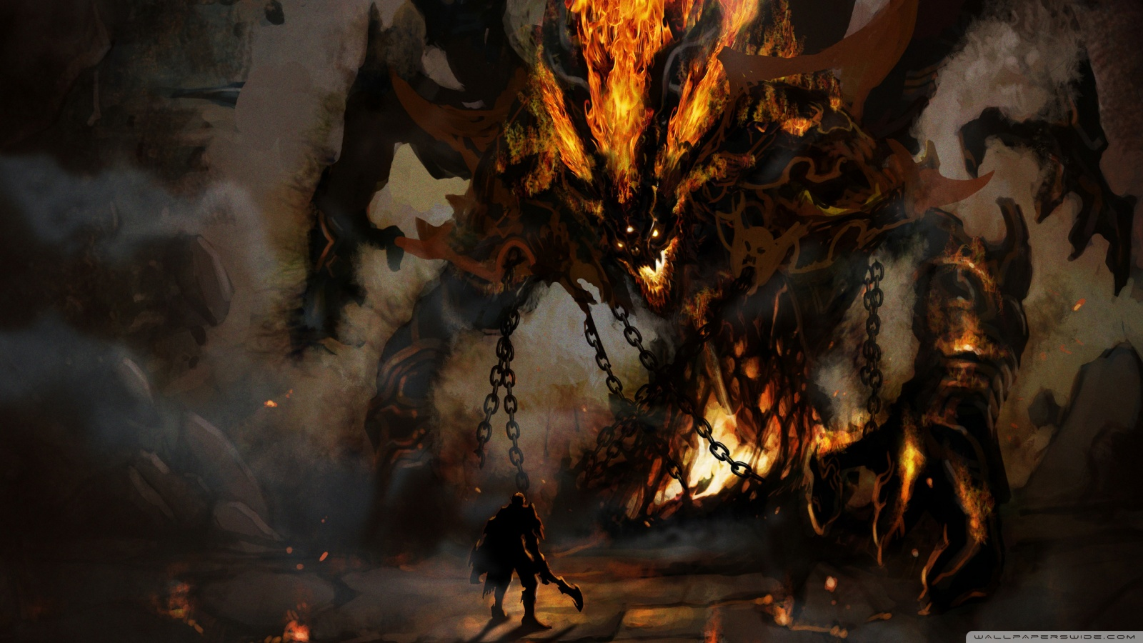 Fire demon wallpaper 1600x900