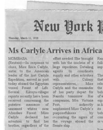 Carlyle Expedition Clipping #6