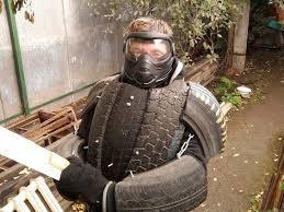 Tsoklit's medium hard rubber ( tire ) & GI sheet piecemeal armor