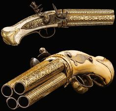Antique Gold Pepperbox Pistol