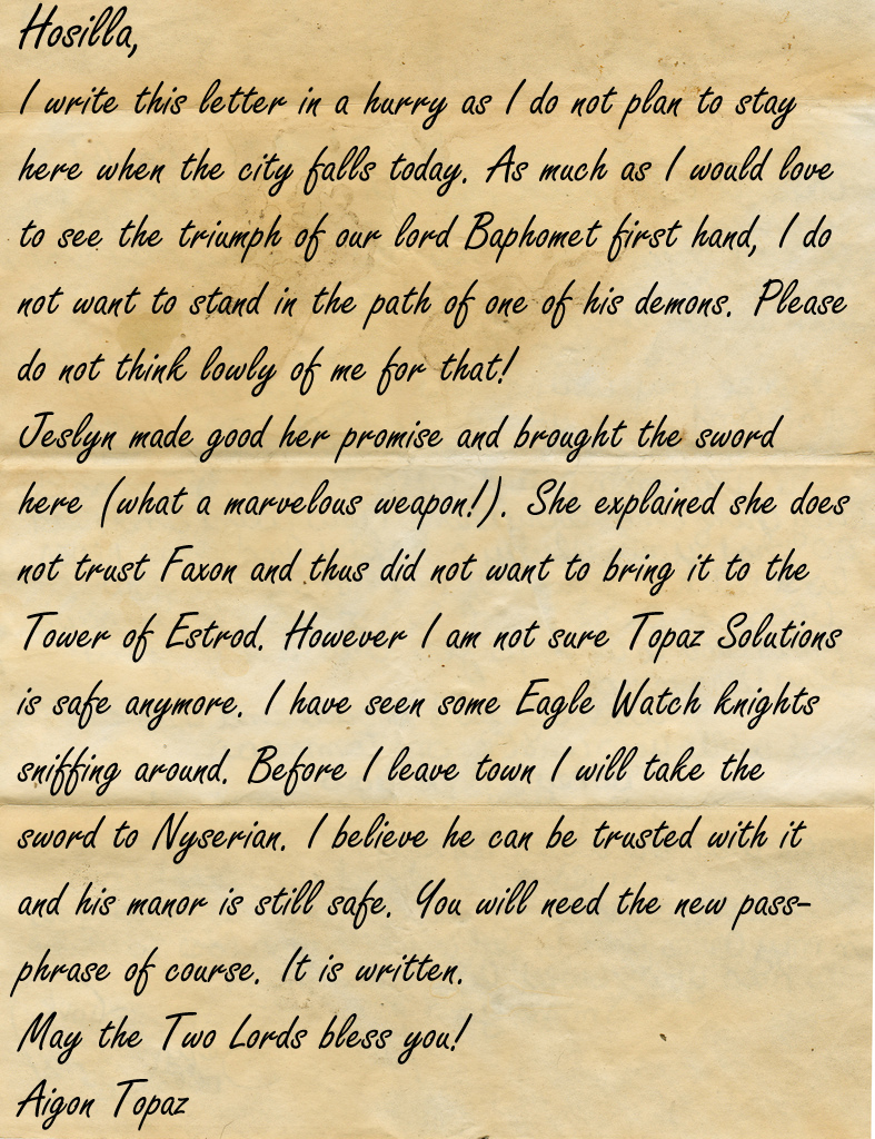 Letter from Topaz to Hosilla