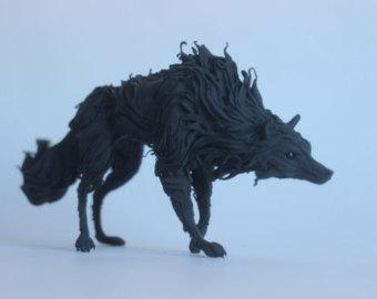 Blue Lapis Wolf Figurine