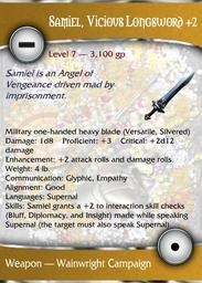 Samiel, Vicious Longsword +2