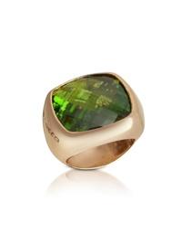 Goldring mit grünem Stein
