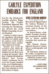 Carlyle Expedition Clipping #2