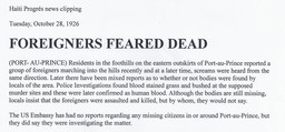 Newspaper article 'Foreigners feared dead'